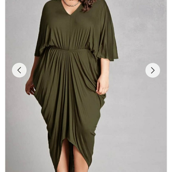 PLUS SIZE 3X DRAPED DRESS-OLIVE/NEW!!!